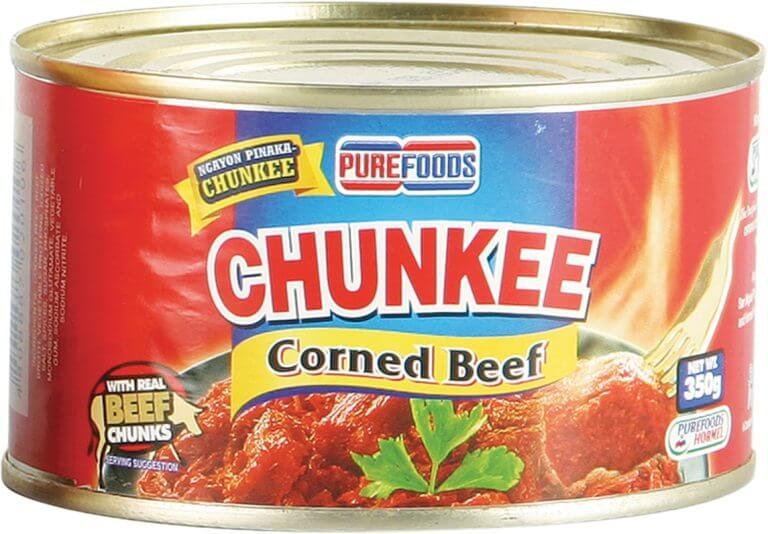 pure foods - chunkee corned beef product label